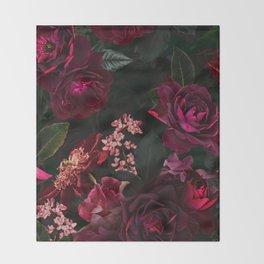 Vintage & Shabby Chic - Night Botanical Flower Roses Garden Throw Blanket