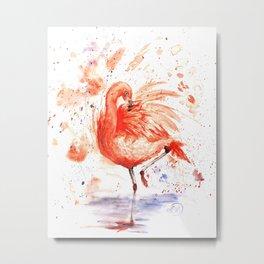 Feathery Friend Metal Print