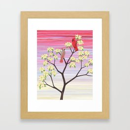 cardinals and dogwood blossoms Framed Art Print