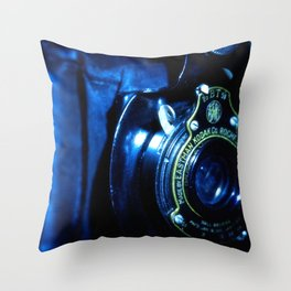Capturing Yesteryear a vintage Kodak folding camera photograph Throw Pillow