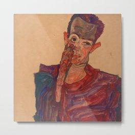 "Egon Schiele ""Self-Portrait with Eyelid Pulled Down"" Metal Print"