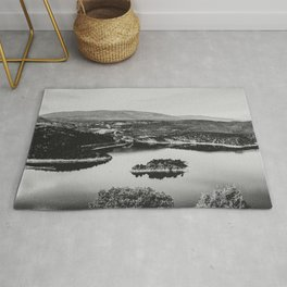 Little Mountain Island // Black and White Lake Photograph in Colorado Rug
