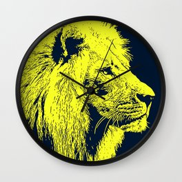 Lion, King of Nature - Yellow Portrait Wall Clock