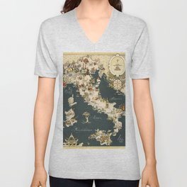 Gastronomic Map of Italy 1949 Unisex V-Neck