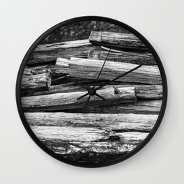 Hand Cut Lumber From Dismantled Log Barn 1 Wall Clock
