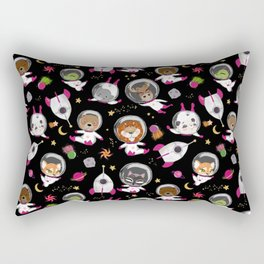 Animal Astronauts In Outer Space Pink Black Rectangular Pillow