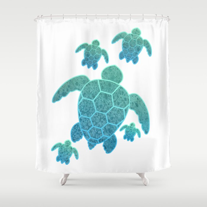 A Family Of Sea Turtles Shower Curtain By Shannarak