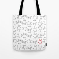 rock n roll Tote Bags featuring Rock n' Roll by mtheb