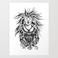 virgo Art Prints featuring Virgo by Anna Shell