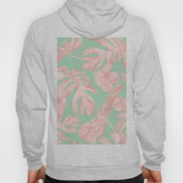 Tropical Palm Leaves Hibiscus Pink Mint Green Hoody