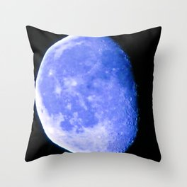 Icy Blue Moon Throw Pillow