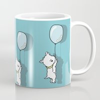 westie Mugs featuring Hungry Westie Puppy by Lucy Olver