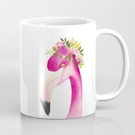 Pink Flamingo Wears a Crown Coffee Mug