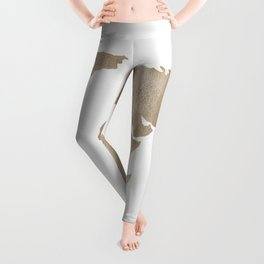 World Map - Beige Watercolor Minimal on White Leggings