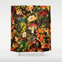 Night Garden and Fireflies Shower Curtain