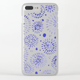 Abstract watercolor sparkles – blue Clear iPhone Case