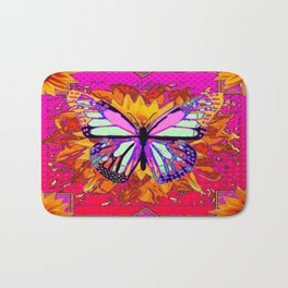 Rainbow Colored Butterfly On Red-fuchsia Sunflower Floral  Bath Mat