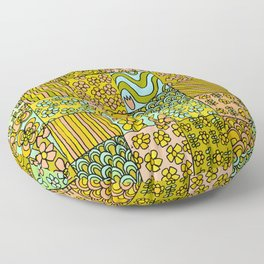 patchwork dreams retro flower quilt dreams of waves Floor Pillow