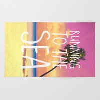 running Area & Throw Rugs featuring Running to the Sea by Text Guy