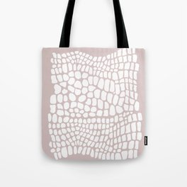 white and beige snakeskin Tote Bag
