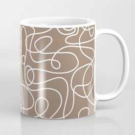 Doodle Line Art   White Lines on Malt Brown Coffee Mug