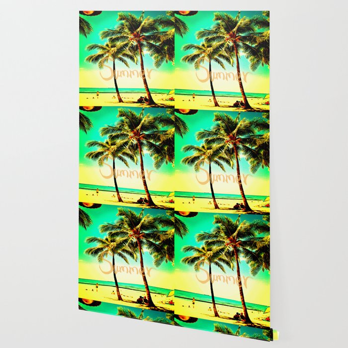 Green Yellow Vintage Palm Tree With Hawaii Summer Sea Beach Wallpaper