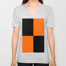 Big mosaic orange black Unisex V-Neck