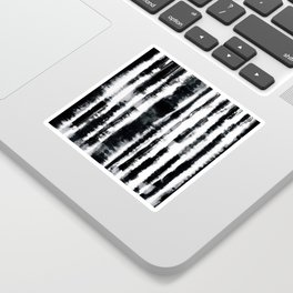Tie-Dye Shibori Stripe BW Sticker