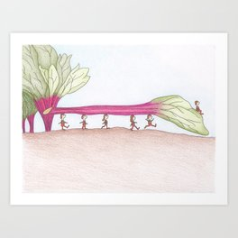 Garden Brownies in the Rhubarb Art Print