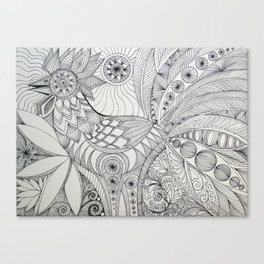 Rooster Doodle Canvas Print
