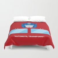 optimus prime Duvet Covers featuring Optimus Prime by IlPizza
