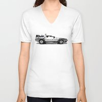 delorean V-neck T-shirts featuring Delorean Low poly by Angel Decuir