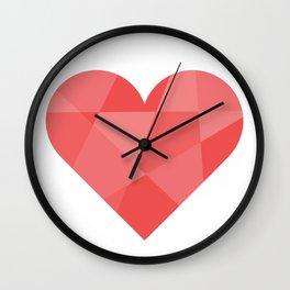Heart, diamond cut Wall Clock