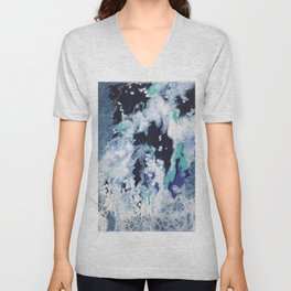 Carefree Blue Abstract Unisex V-Neck