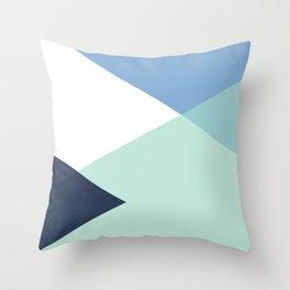Geometrics - seafoam & blue concrete Throw Pillow