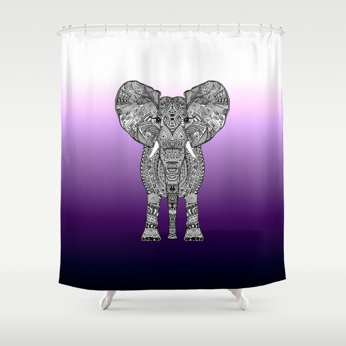 PURPLE OMBRE ELEPHANT Shower Curtain