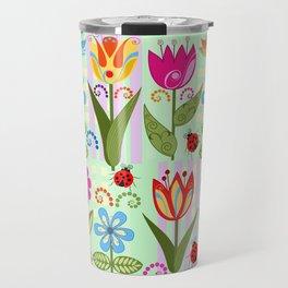 Decorative flowers, ladybugs and a bird Travel Mug