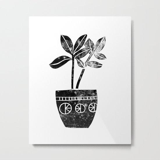 Rubber Plant linocut lino printmaking illustration black and white houseplant art decor dorm college Metal Print