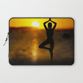 Yoga Female by the Ocean at Sunset Laptop Sleeve