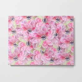 Shocking Pink Flora Gems Metal Print