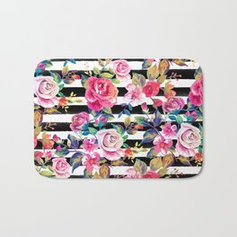 Cute spring floral and stripes watercolor pattern Bath Mat