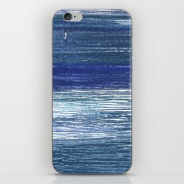 Metallic blue abstract watercolor iPhone Skin
