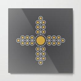 Minimalist Flowers Cross Pattern (Spicy Mustard, Charcoal Black) Metal Print