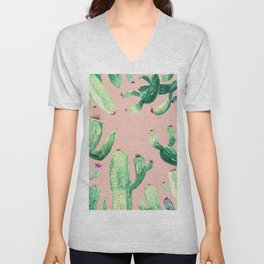 pink cactus comming Unisex V-Neck