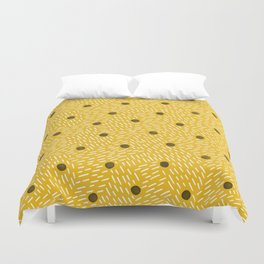 Polka dots and dashes // mustard and gray Duvet Cover