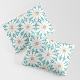 Daisy Hex - Turquoise Pillow Sham