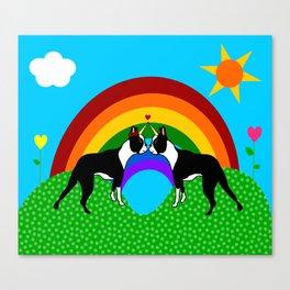 Boston Terrier Unicorn Love Canvas Print