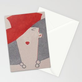 Art Deco Lady Wearing Red Hat Stationery Cards