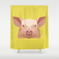 guinea pig Shower Curtains featuring Pig by Alysha Dawn