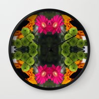 hot pink Wall Clocks featuring hot pink by EnglishRose23